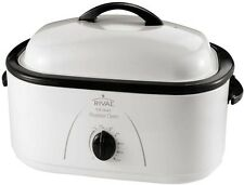 18 -Quart White Slow Cooker Crockpot Turkey Pot Roaster Oven With Removable Pan
