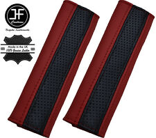 2X BLACK PERFORATED & DARK RED LEATHER LUXURY SHOULDER SEAT BELT PADDED PADS