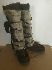 New! Pika Mukluk Size 8 Fur Brown Chocolate Strappy Suede Tall Winter Boot
