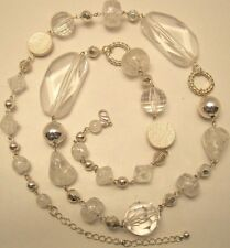 Necklace Clear Glass Beads Filigree Ball Long Adjustable Silver Chain NWT L1247
