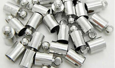 20pcs Silver Plated Brass Barrel Cord Multi-size Kumihimo Glue  End Caps