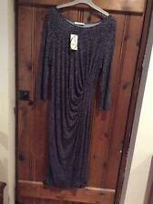 Ladies Oasis Midi Black/Grey Stretchy Dress Size M 12-14 BNWT