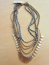 Lucky Brand Gold-Tone Beaded and Stone Multi-Layer Necklace MSRP $69