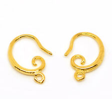 10 Pairs Gold Plated Earwire Hooks Earring W/Loop