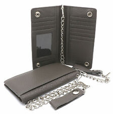 Bifold Gray Genuine Leather Checkbook Holder Snap Button Wallet with a Chain