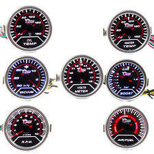 "2"" 52mm Car Universal Pointer Boost Temp Volt Bar Gauge Meter Smoke Tint Len LED"