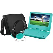 """EMATIC EPD909TL 9"""""""" Portable DVD Player Bundle (Teal)"""