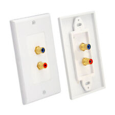 2 RCA Female Premium AV Wall Outlet Dual Audio Socket Wall Plate Component Sales
