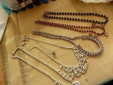 JOB LOT 5 VINTAGE RHINESTONE NECKLACES IN LOVELY CONDITION