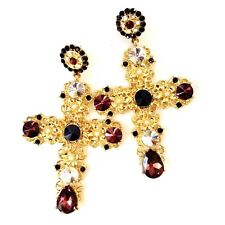 Baroque Style White Pearl Beaded Red Crystal Gold Floral Filigree Cross Earrings