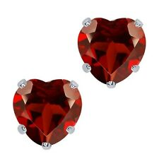 1.80 Ct Heart Shape 6mm Natural Red Garnet 10K White Gold Stud Earrings