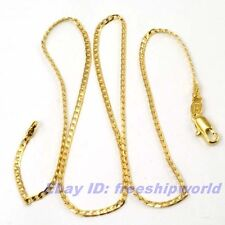 """17.7""""2mm3g REAL ELEGANT 18K YELLOW GOLD GP CURB NECKLACE SOLID FILL GEP CHAIN"""