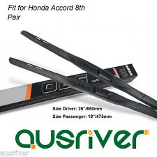 """Fit for Honda Accord 8th Pair Frameless 26""""/19"""" Quiet Wiper Blades Brand New"""
