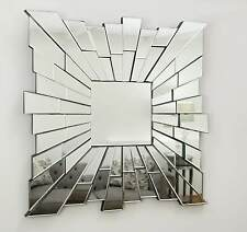 "Sunburst Silver Facet Square Modern Wall Mirror 36"" x 36"" X Large"