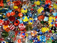 NEW Lampwork Murano Glass 4/oz BRIGHT COLORED MIXED Randomly Picked Beads LOT