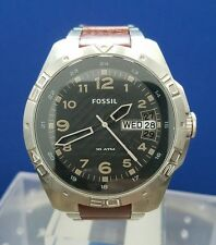 Men's Fossil 10 ATM Stainless & Leather Watch Gray Dial AM-111004 R341