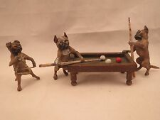 Vintage Vienna Bronze 2 pugs playing pool & 1 pug orchestra band triangle player