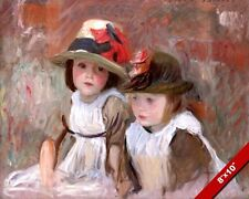 TWO CUTE LITTLE GIRLS SISTERS W HATS BOWS OIL PAINTING ART PRINT ON REAL CANVAS