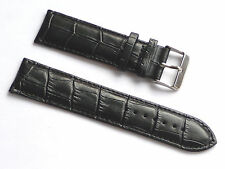 Replacement Quality Lug 22mm Black Genuine Leather Alligator Strap Fossil