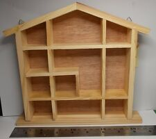 small display unit House Shaped shelf shelves pine for collectable miniatures