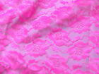 "4 YARDS - HOT PINK FREESIA CRAFTERS FLORAL LACE FABRIC 44""W MESH CORSET SKIRT"