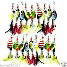Lot 18pcs Trout Spoon Metal Fishing Lures Spinner Baits Bass Tackle Feather 8g