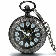 Retro Transparent Cover Carved Roman Wind Up Mechanical Pocket Watch Necklace