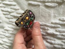 NEW Brass Hair Clip Multi Jewel Hair Claw For Medium to Thick Hair or Pony Tail