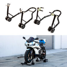 Black Motorcycle Stand Front and Rear Wheel Lift Paddock Hook Swingarm Universal
