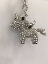 CUTE & FUNKY UNICORN Handbag Keyring Clear Diamante Rhinestone Charm Bling *NEW*