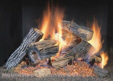 "Gas Fireplace Logs 18"" Log Set Vented 2 Burner Insert Flame Natural Fire Embers"