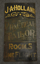 ORIGINAL Antique Hand Painted DOUBLE SIDED Tailor Clothing Metal Tin Sign 34x18