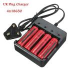 4x 3.7V 18650 3800mAh Li-ion Rechargeable Battery+4.2V UK Charger For Flashlight