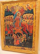 + The Resurrection Anastasis  Rare Byzantine Greek Eastern Orthodox Icon on Wood