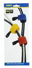 PACK OF 4 x KINZO CABLE HOOK & LOOP FASTENER REUSABLE CABLE STRAPS CORD TIE TIDY