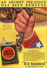 """PUBBLICITA' SIGARETTE LUCKY STRIKE """"AMERICAN INTELLIGENT"""" FUMO WINSOR MCCAY 1929"""