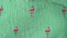 TOMMY HILFIGER GREEN & WHITE STRIPE PINK FLAMINGOS FLAT SHEET TWIN BEACH CHIC