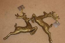 Decoración Navidad - 2 Colgante 35 Cm Brillo Dorado Salto Reno / Ciervo