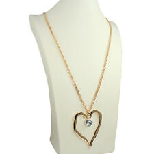 Gold lagenlook style large abstract heart crystal stone chain long necklace