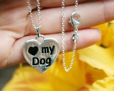 .925 Sterling Silver NECKLACE Reversible I Love My Dog Heart Lover Paw Print
