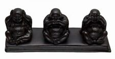 Black Three Wise Chinese Buddha Statue Ornament See, Speak, Hear No Evil