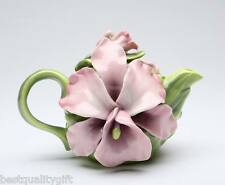 NEW-COLLECTIBLE PORCELAIN LILAC PUPLE MAUVE ORCHID TEAPOT+BOX