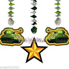 MILITARY CAMOUFLAGE DANGLING CUTOUTS (3) ~ Birthday Party Supplies Decorations