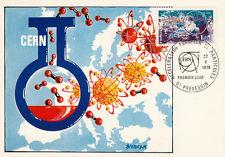 Carte 1er Jour PREVESSIN 22/X/1976 accélérateur européen de particules timbrée