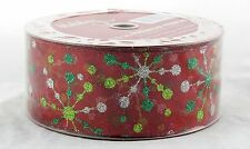 Starburst Sparkle Green Silver on Red 2.5in Wide Wired Ribbon 50 yards NEW gift