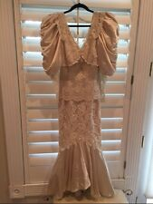 Vintage Lorrie Kabala Collectibles VICTORIAN Lace Pearl Wedding Dress Fishtail S