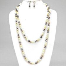 """60""""  light multi pearl layered long faux choker collar bib statement Necklace"""
