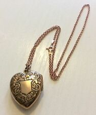 Fabulous Victorian Large Rolled Gold Heart Locket & Rose Gold On Silver Chain