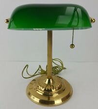 Vintage Brass Bankers Desk Library Students Lamp Green Glass Shade