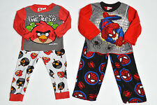 2 piece Boys Longsleeve Spiderman & Angry Bird Pajama Sets  X2 (sz 4)[YY]